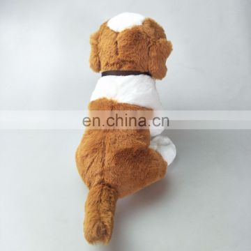 Lovely 20cm Switzerland plush Saint Bernard dog toys with barrel custom logo