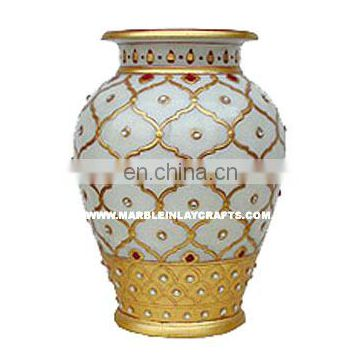 Decorative Marble Flower Vase With Gold Painting, Corporate Gift