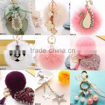 Hot Luxury Car Rhinestone Fox Fur Ball Key Chain women's car keychain plush fur ball swan keychain charm colored key chain K0114