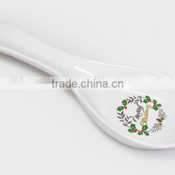 Wholesale promotional ceramic fashionable spoon rest with decal printing