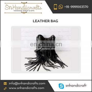 100% Genuine Leather Made Fringed Black Leather Bag from Leading Manufacturer