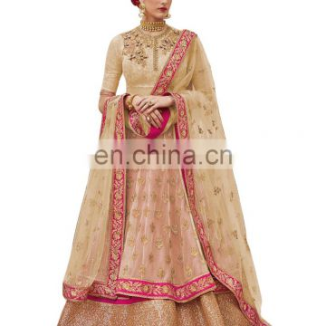 Engagement Wear Stylish Peach Color Lehenga Choli + Bottom Pant Style Anarkali Suits Dress Material 2017