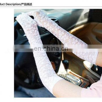 women's Newest fashion ivory fingerless lace wedding evening long Full finger bridal gloves lace wedding Hand gloves