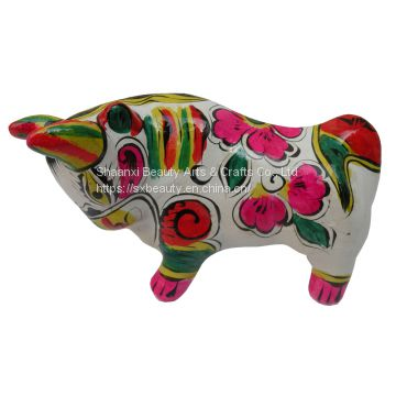 handcrafts clay sculpture Chinese Zodiac business gift  painted cow birthday gift