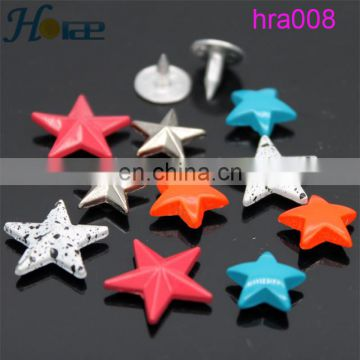 high quality cheap colorful star shape metal spike stud for jean shoe and garment