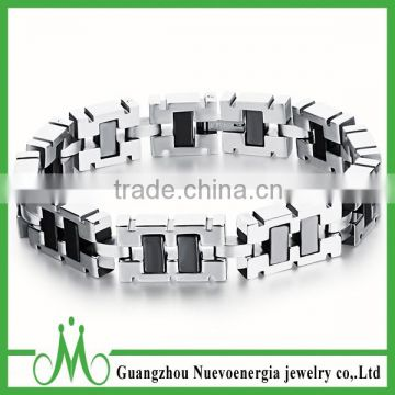 Mens Heavy Metal Stainless Steel Bracelet Link Chain Wide Wrist Clasp Bangle Black Silver