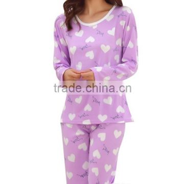 Long sleeve autumn thin nightdress lady lovely milk silk female autumn sleepwear casual comfortable women pajamas set wholesale
