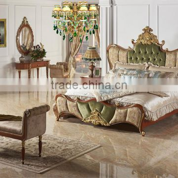 4fda878f4c11 Antique Classic Royal Upholstery Bed, Luxury Button Tufted Golden Bed Set,  Wood Carving Bedroom Furniture Set of English style furniture from China ...