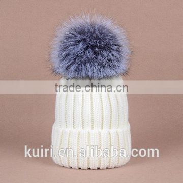 knitted hat with snap silver fox fur ball on top