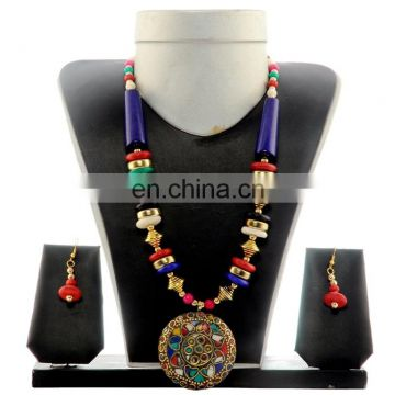 Banjara Pearl Beded Western Necklace-Indo Western Banjara Necklace-Costume Peacock Style jewelary