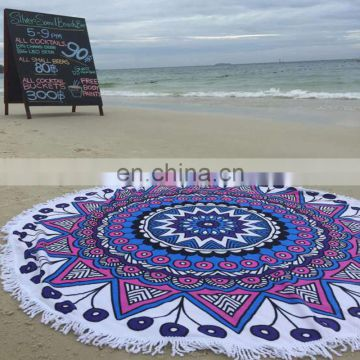 Wholesale Custom Printed Microfibre round Beach Towel with logo