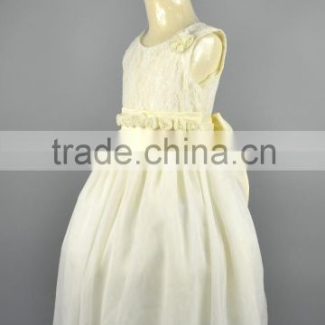 Baby Girls Ivory Communion Bridal Wedding Party Lace Dress Kids Wear Bridesmaid Flower Waist Collar Dress
