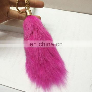 Hot sale top grede fox tail shape keyrings wholesale china fox tail keyrings