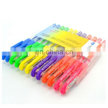 office and school promotion stationery set includes glitter/metallic and fluorescent color gel ink pen with pvc packing