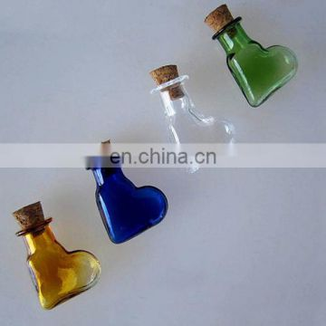 2ml Oblique Heart Shaped Perfume Glass Bottle With Cork Of Cosmetics