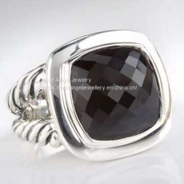 Sterling Silver 14mm Black Onyx Albion Ring