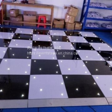 RK White and black portable used dance floor for indoor / outdoor event