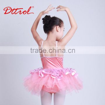 New Style Shinny pink Peony performance Tutu Skirt Dance Costume Dress for Girls D032002