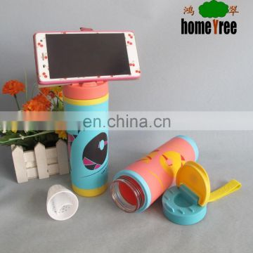 Creative Food Grade Plastic Sport Phone Water Bottle With Mobile Phone Holder