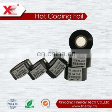 black color 30mm*120m size FINERAY brand heat transfer label printer thermal rolls on packaging