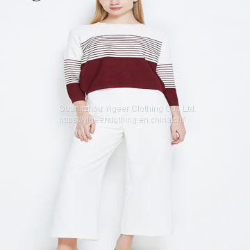 Long Sleeve Striped Round Neck Casual Sweater Shirt