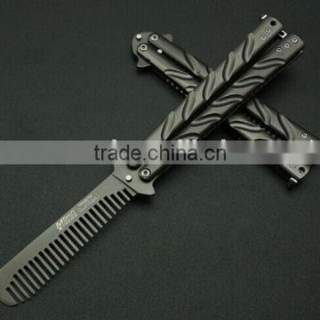 Wholesales Black Comb Multi function Stainless Steel Trainer Tool Butterfly Knife