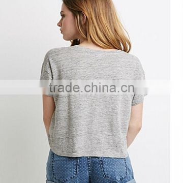 2015 Fashion women wear short sleeves linen tee pure color round neck tee