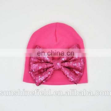 2016 Fashionable Newborn Cute Hat Girl Boy Infant Hat Baby Beanies with A Pretty Bow Accessory