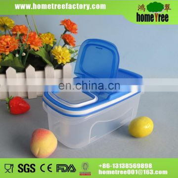 Multifuntional 0.5L small rectangle clear plastic storage box with lid and small opening