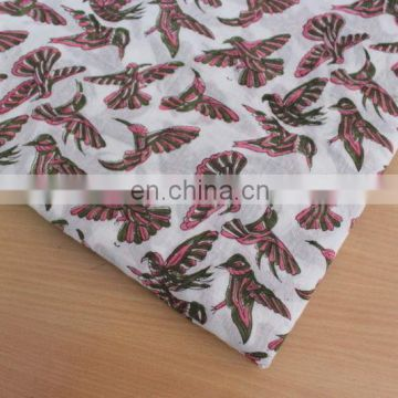 10 yard Soft fabric Flying Brids Hand Print Fabric Pure indian cotton CHIDIYAN