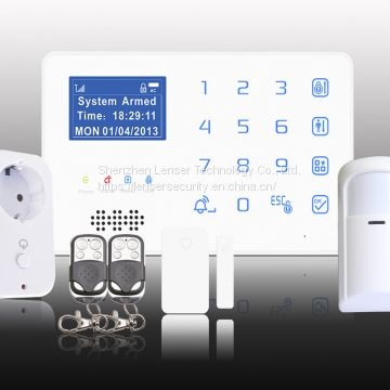 Touchpad Security GSM Alarm System with Smart APP remote control, wifi socket