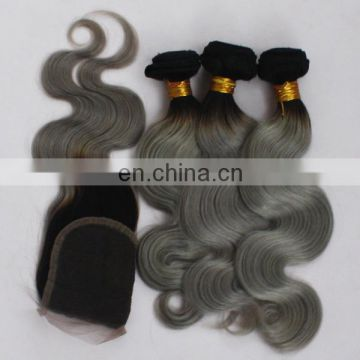 factory stock cheap ombre color hair #1B/gray hair weaves with closure