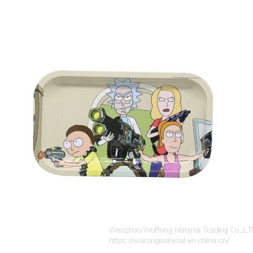 L270mmxW160mmxT27mm Tin plate tray pipe tobacco plate cut tobacco storage rolling tray with cartoon logo