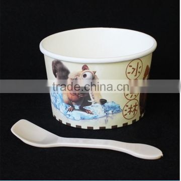 wooden spoon,paper ice cream cups,ice cream tubs