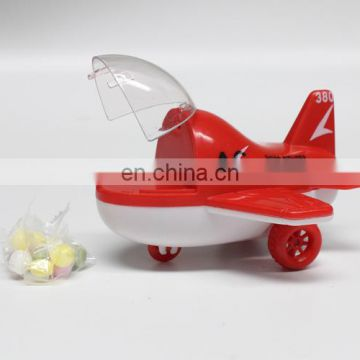 Cheap plastic pull back plane candy containers with toys