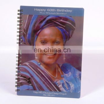 lenticular manufacturer spiral notebook with blank pages with high quality