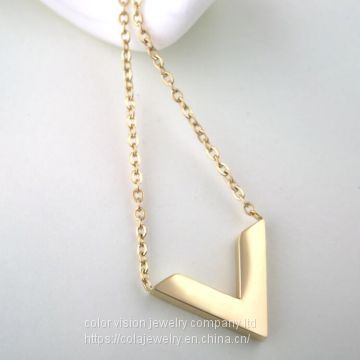 Ladies Jewelry Fashion Stainless Steel Gold Plated Letter′s Pendant Necklace V sharp Pendant Necklace