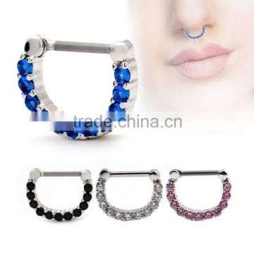 Gem Septum Clicker 316L Surgical Steel Nose Ring Nose Hoop Body Piercing