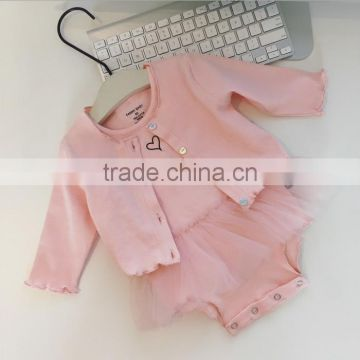 Pink colour baby clothes dressy rompers 2pcs set knitted baby tutu romper