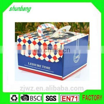 Folding corrugated board navy color paper 8 inch cake box with handle