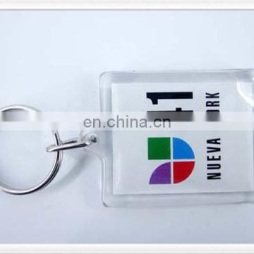 Acrylic keychain with square shape and custom printing inserted