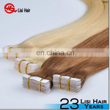 Machine made double drawn tape hair