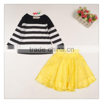2015 Whosale hot sale children autumn clothing set european style cute baby girl striped t-shirt and skirt 2pcs set