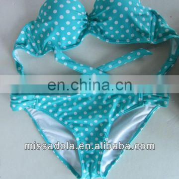 Lady's Sweet Light Blue Bikini With White Polka Dot