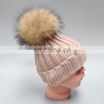 Child genuine fur bobble beanies winter raccoon real fur ball knit hat