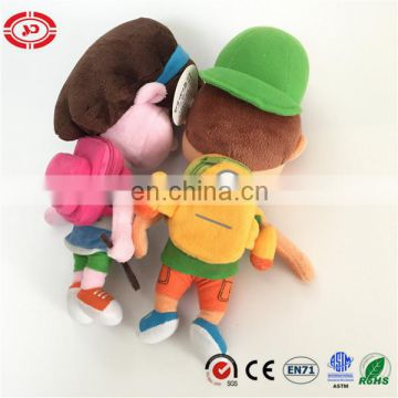 School boy and girl happy embroidered feature with schoolbag cute doll