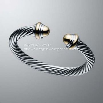 Gold Plated Sterling Silver DY Inspired 7mm Cable Classics Cuff  Bracelet