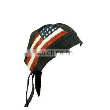HMB-901I LEATHER SKULL CAPS DURAGS BLACK USA FLAG BANDANA HATS