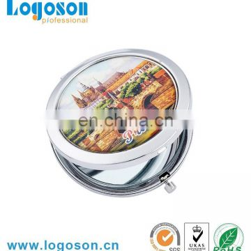 Promotional wholesale high quality pink epoxy sticker oem Hollywood pocket mirror