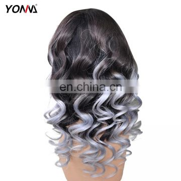 No Tangle No Shedding 100% Human Hair Indian Remy Ombre Color Gray Hair Lace Front Wig With Baby Hair